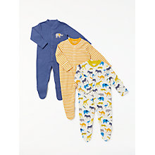 Buy John Lewis Baby Safari Organic GOTS Cotton Sleepsuit, Pack of 3 Online at johnlewis.com