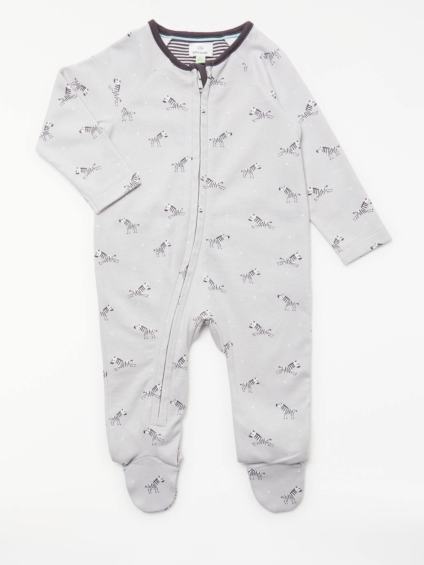 6392fb64ef1b John Lewis   Partners Baby GOTS Organic Cotton Zebra Zip Up ...