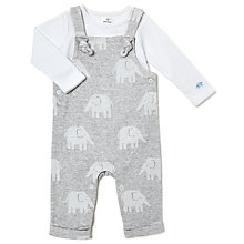 Buy John Lewis Baby Elephant Dungaree and Top Set, Grey Online at johnlewis.com