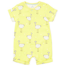 Buy John Lewis Baby GOTS Organic Cotton Ostrich Romper, Yellow Online at johnlewis.com