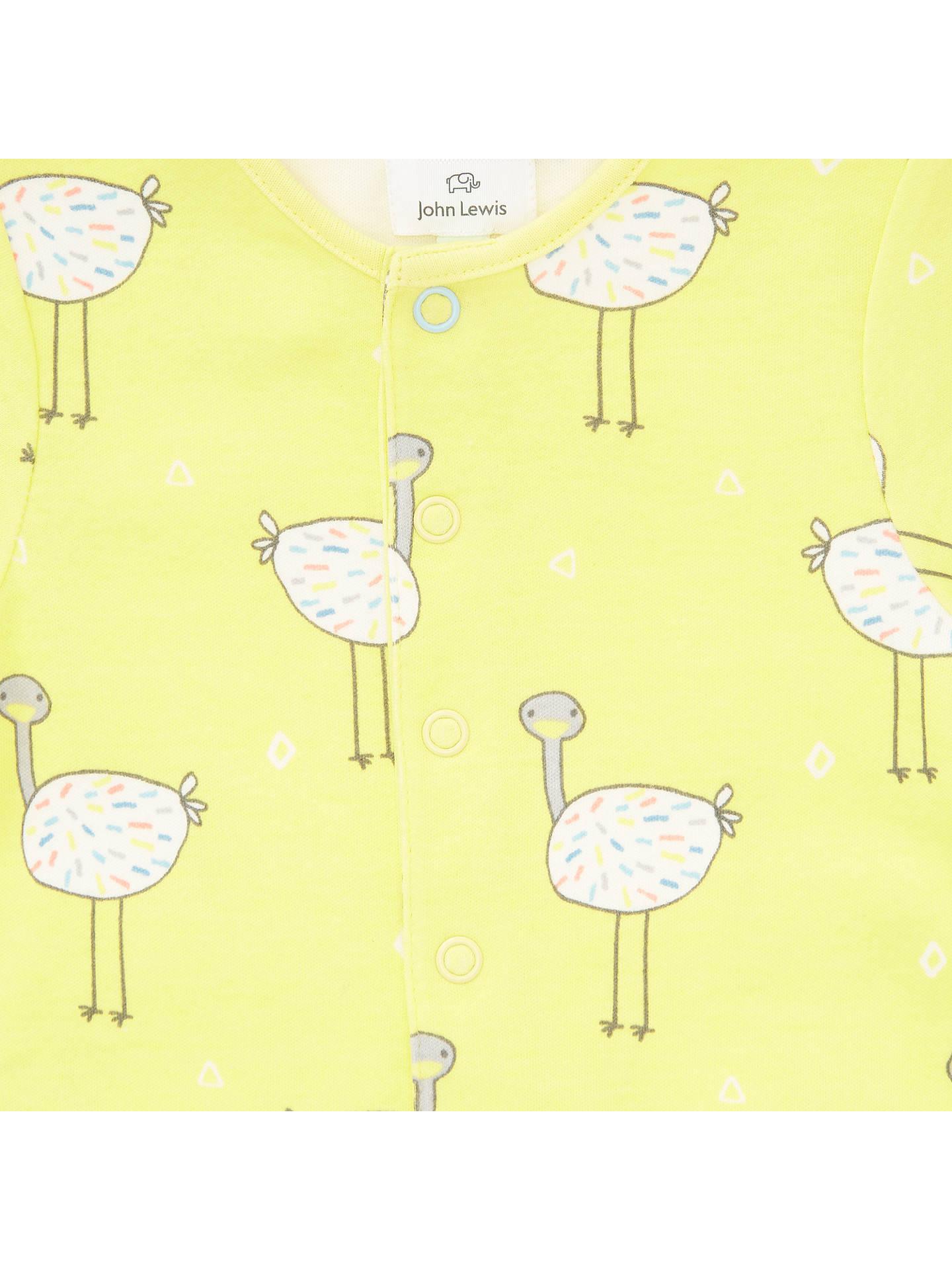 6dc3cda62 John Lewis Baby GOTS Organic Cotton Ostrich Romper