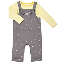 Buy John Lewis Baby Shapes Jersey Dungaree and Top Set, Grey/Yellow Online at johnlewis.com