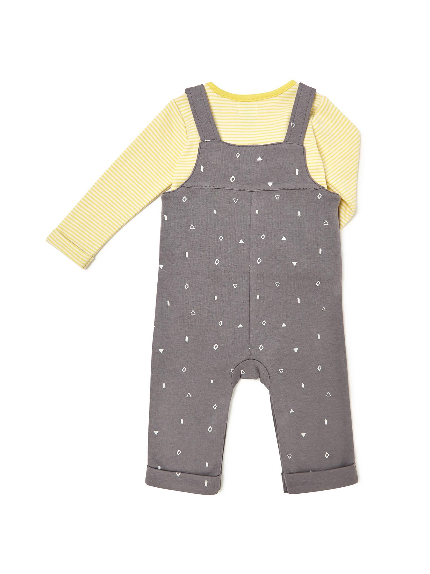 John Lewis Baby Shapes Jersey Dungaree And Top Set Grey Yellow Newborn