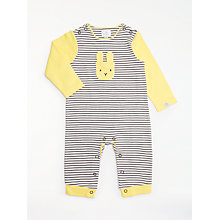 Baby toddler rompers playsuits easter toys gifts john lewis buy john lewis baby gots organic cotton stripe bunny long sleeve romper multi online at negle Image collections