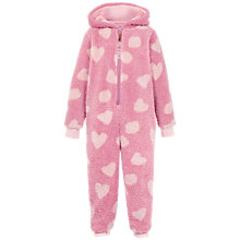 Buy Fat Face Children's Piglet Fleece Onesie, Rose Online at johnlewis.com