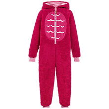 Buy Fat Face Children's Owl Fleece Onesie, Raspberry Online at johnlewis.com