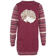 Buy Fat Face Girls' Hedgehog Knitted Dress, Grape Online at johnlewis.com