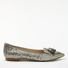 Buy Boden Albertina Sequinned Tassel Pumps, Silver Online at johnlewis.com