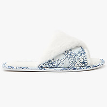 Buy John Lewis Floral Slider Open Toe Slippers, Blue Online at johnlewis.com