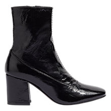 Buy Jigsaw Hansen Block Heeled Ankle Boots, Black Online at johnlewis.com