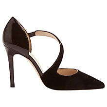 Buy Karen Millen Asymmetric Strap Court Shoes, Black Online at johnlewis.com