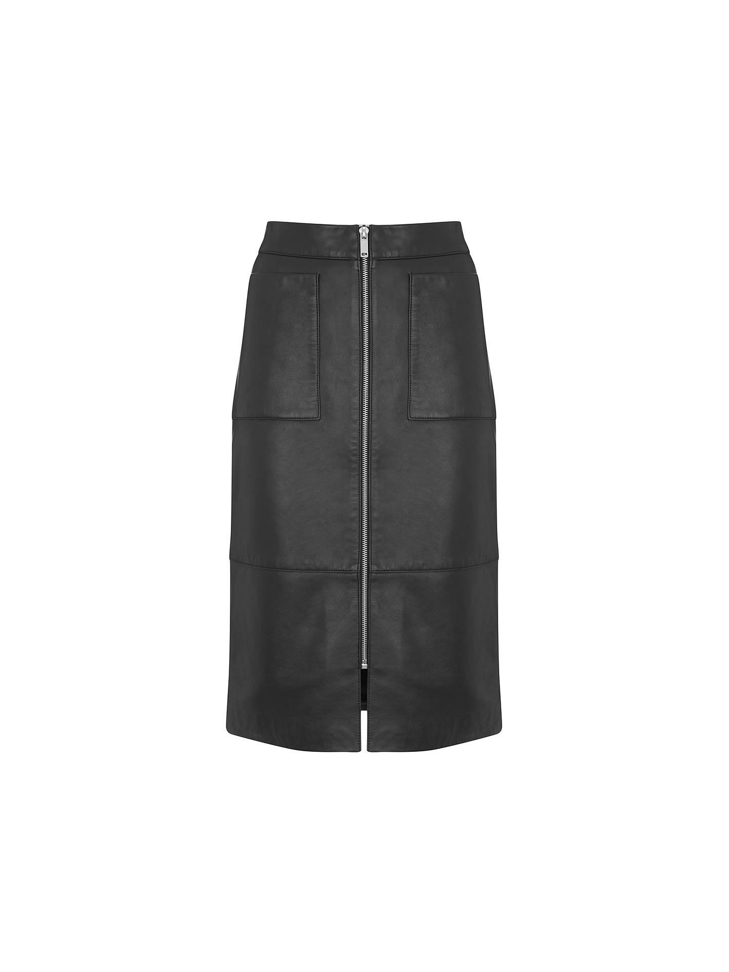 latest fashion new arrival sold worldwide Mint Velvet Leather Pocket Pencil Skirt, Black at John Lewis ...