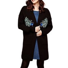 Buy Yumi Peacock Embroidered Cardigan, Black Online at johnlewis.com