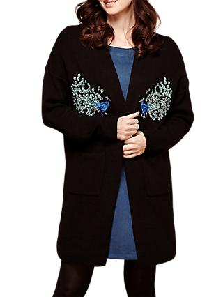 Yumi Peacock Embroidered Cardigan, Black