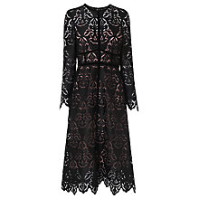 Buy L.K. Bennett Elouise Lace Dress, Black/Chalk Rose Online at johnlewis.com