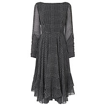 Buy L.K. Bennett Manon Checked Ruffle Dress, Black/White Online at johnlewis.com