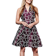 Buy Yumi Floral Jacquard Dress, Burgundy Online at johnlewis.com
