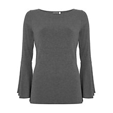 Buy Mint Velvet Fluted Sleeve Ribbed T-Shirt, Dark Grey Online at johnlewis.com