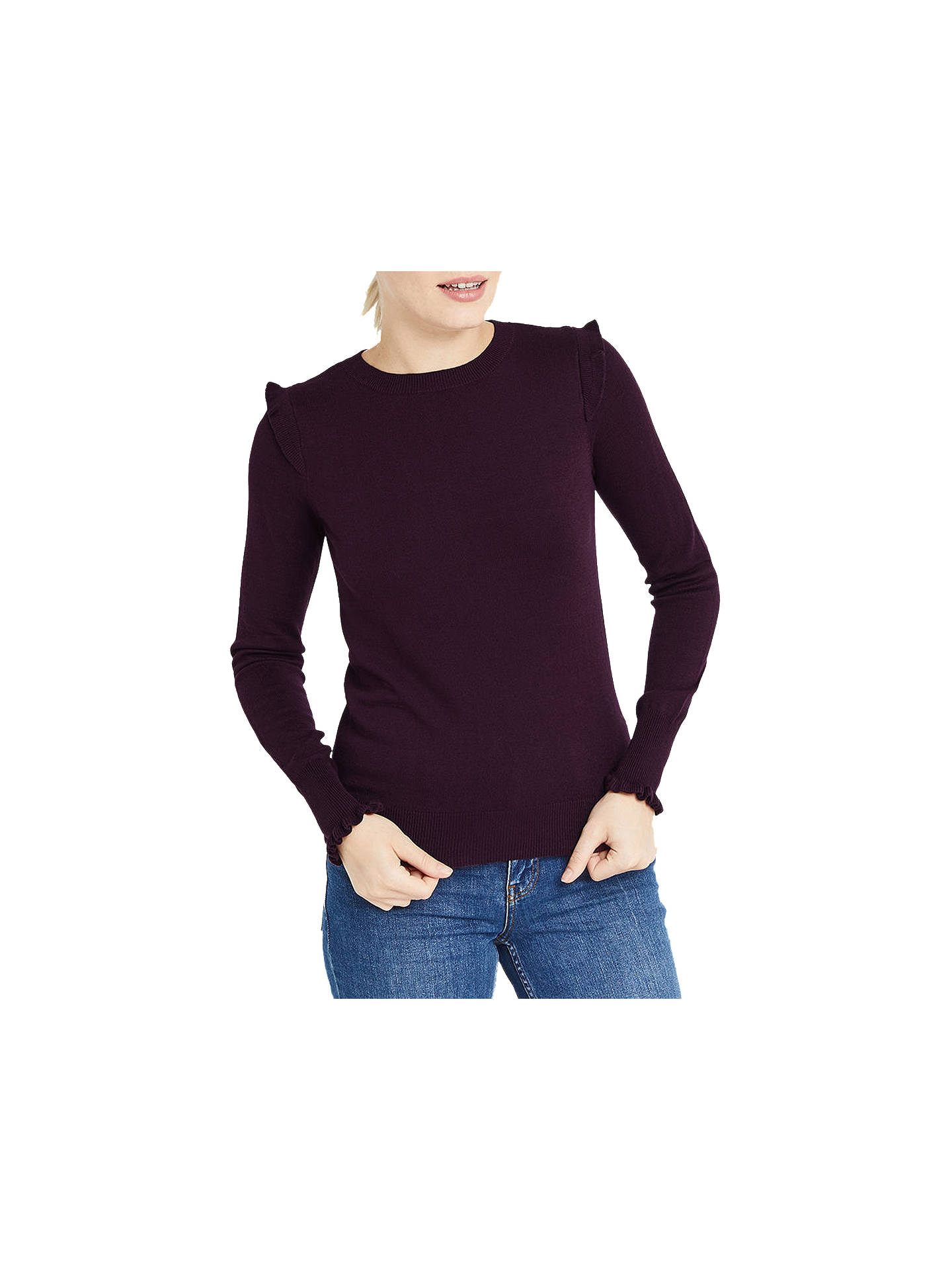 BuyOasis Frill Shoulder and Cuff Knitted Top, Burgundy, XS Online at johnlewis.com