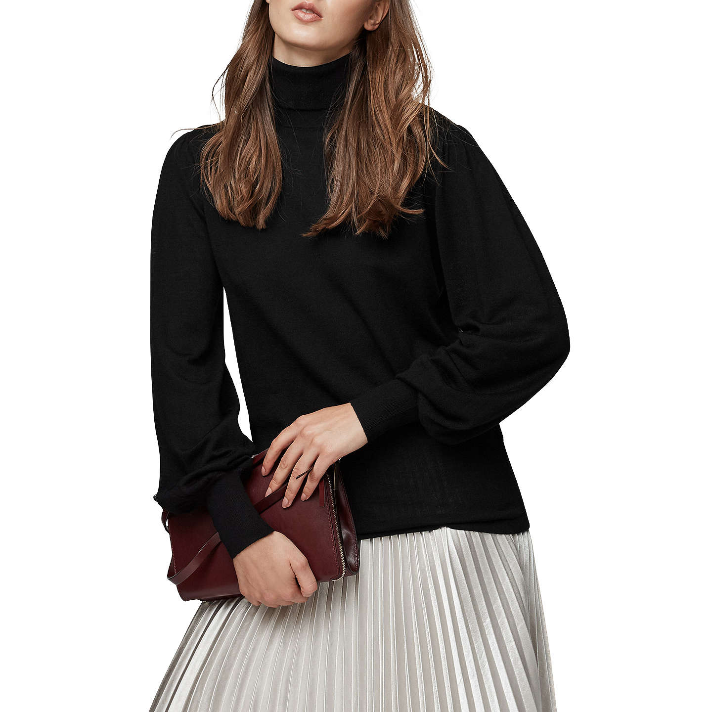 BuyReiss Caroline Merino Wool Roll Neck Jumper , Black, 6 Online at johnlewis.com