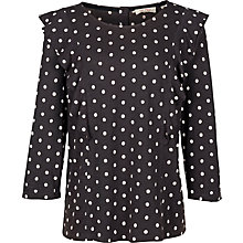 Buy Fat Face Linley Polka Dot Ruffle Top, Phantom Online at johnlewis.com