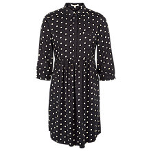 Buy Fat Face Lena Paint Polkadot Dress, Black/White Online at johnlewis.com