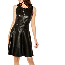 Buy Karen Millen Leather Studded Skater Dress, Black Online at johnlewis.com