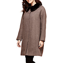 Buy Yumi Faux Fur Trim Coat, Dark Grey Online at johnlewis.com