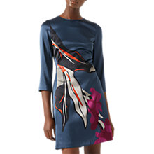 Buy Jigsaw Northern Bloom Iris Silk Blend Dress, Dark Petrol Online at johnlewis.com