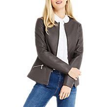 Buy Oasis Faux Leather Collarless Jacket, Mid Grey Online at johnlewis.com