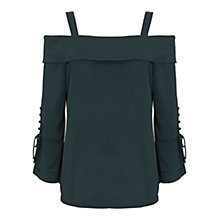Buy Mint Velvet Jade Shoulder Blouse, Deep Emerald Online at johnlewis.com