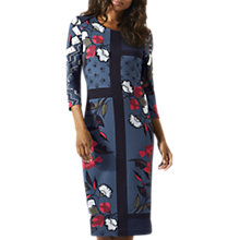 Buy Jigsaw Nordic Floral Print Jersey Dress, Dark Petrol Online at johnlewis.com