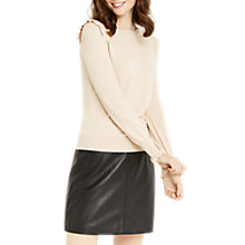 Buy Oasis Frill Shoulder and Cuff Knitted Top, Light Neutral Online at johnlewis.com