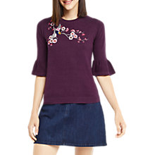 Buy Oasis Kimono Embroidered Top, Dark Purple Online at johnlewis.com