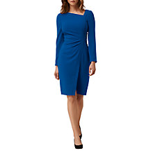 Buy L.K. Bennett Dr Angela Asymmetric Neck Fitted Wrap Dress, Imperial Blue Online at johnlewis.com