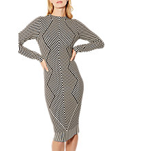Buy Karen Millen Chevron Knitted Long Sleeve Dress, Black/White Online at johnlewis.com