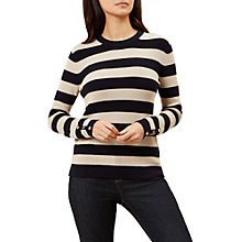 Buy Hobbs Abbie Stripe Jumper, Navy/Ivory Online at johnlewis.com