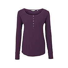 Buy Fat Face Skye Rib Henley Top, Grape Online at johnlewis.com