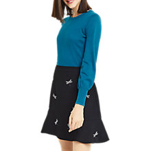 Buy Oasis Blouson Sleeve Knitted Jumper, Turqoise Online at johnlewis.com