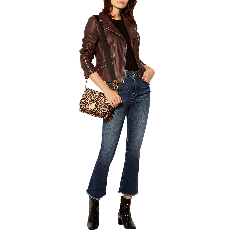 Karen Millen The Essentials Leather Biker Jacket at John Lewis