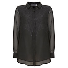 Buy Mint Velvet Ginni Feather Print Blouse, Black Online at johnlewis.com