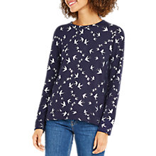 Buy Oasis Foil Swallow Knitted Jumper, Navy Online at johnlewis.com