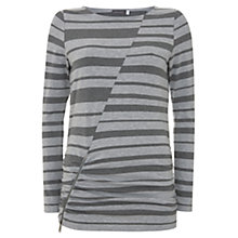 Buy Mint Velvet Blocked Stripe Jersey Top, Grey Online at johnlewis.com