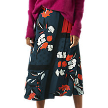 Buy Jigsaw Nordic Floral Flared Midi Skirt, Nordic Orange Online at johnlewis.com