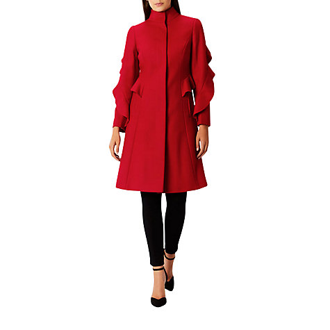 Buy Coast Macey Ruffle Coat, Red | John Lewis