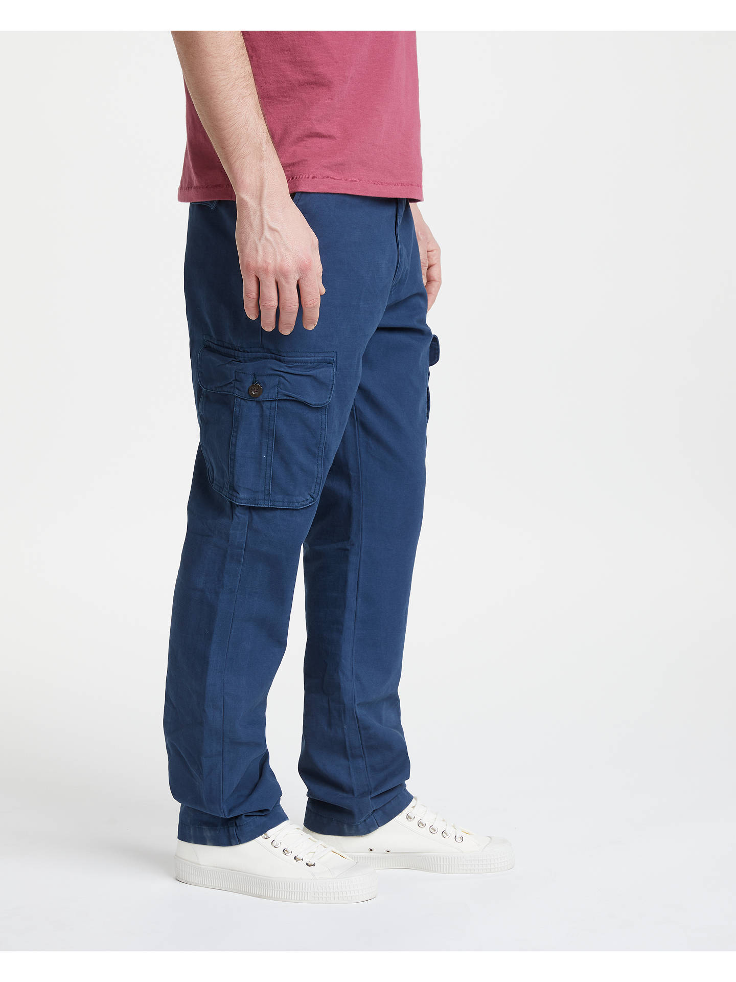 Buy John Lewis & Partners Cotton Cargo Trousers, Navy, 38R Online at johnlewis.com