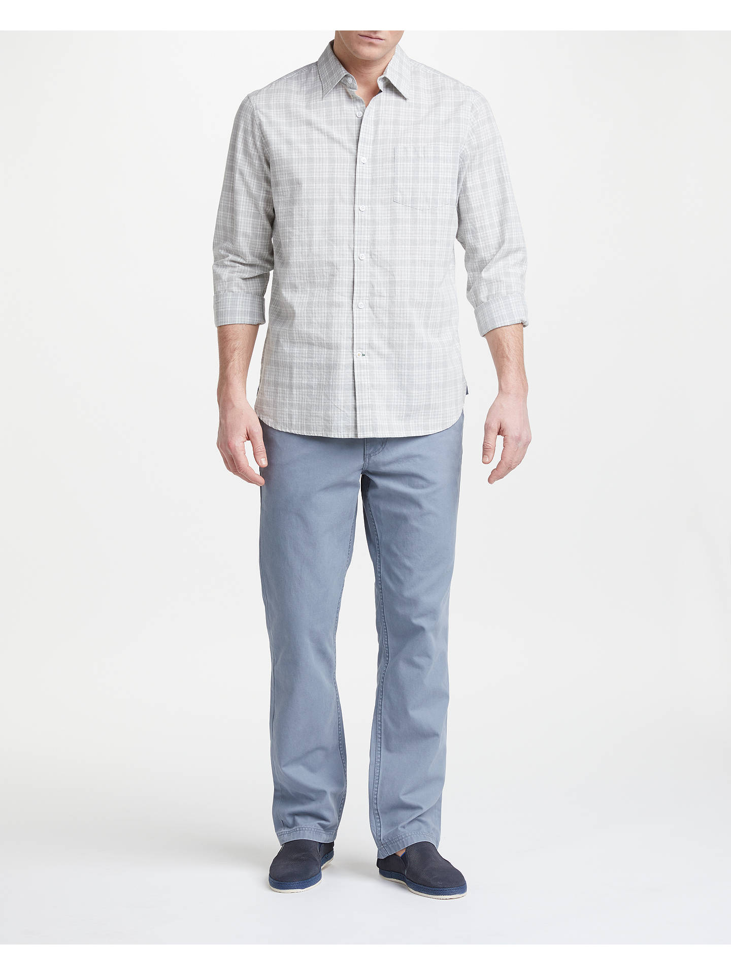 Buy John Lewis & Partners Edison Chino Trousers, Slate Blue, 32S Online at johnlewis.com
