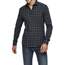 Buy Reiss Tritan Brushed Flannel Check Shirt, Navy Online at johnlewis.com