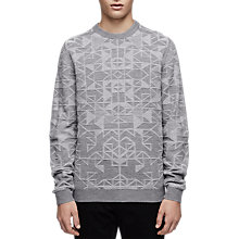 Buy Reiss Leyburn Tonal Pattern Jumper, Grey Online at johnlewis.com