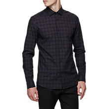 Buy Reiss Austin Brushed Cotton Check Shirt, Navy Online at johnlewis.com